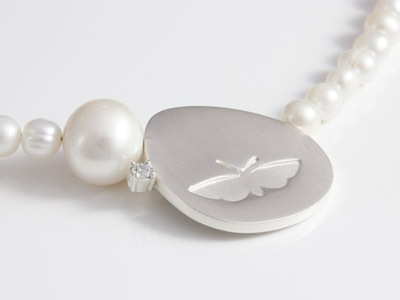 Pearl Necklace Butterfly Silver