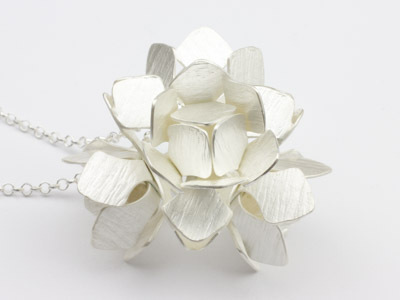 Silver Pendant Water Lily