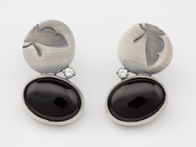 Silver stud earrings Butterfly with Onyx