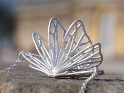 Silver necklace Butterfly Dance