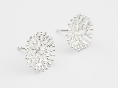 Silver-Stud Earrings Coral small